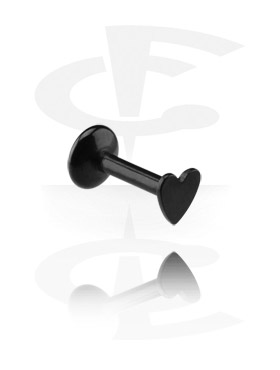 Labrety, Internally Threaded Labret with Black Heart, Surgical Steel 316L