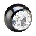Bolas y Accesorios, Bola con brillante para barras con rosca interior de 1.2 mm, Acero quirúrgico 316L