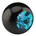 Balls & Replacement Ends, Black Micro Jeweled Ball, Surgical Steel 316L