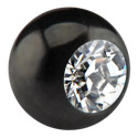 Pallot ja koristeet, Black Micro Jeweled Ball, Surgical Steel 316L
