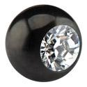 Kuglice i zamjenski nastavci, Black Micro Jeweled Ball, Surgical Steel 316L