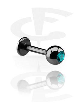 Schwarzes Labret mit Kristallsteinkugel