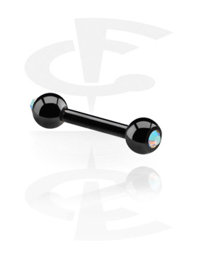 Black Barbell with Jewelled Balls
