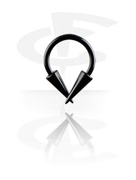 Circular barbell nero con cono lungo
