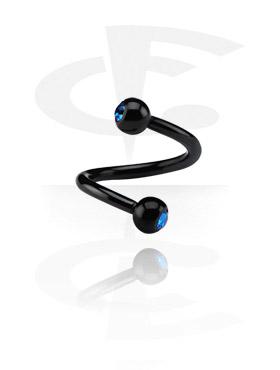 Spirale noire de 1.2 mm avec deux boules strass