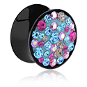 Tunnels & Plugs, Black Double Flared Plug with Crystal Stones, Acrylic