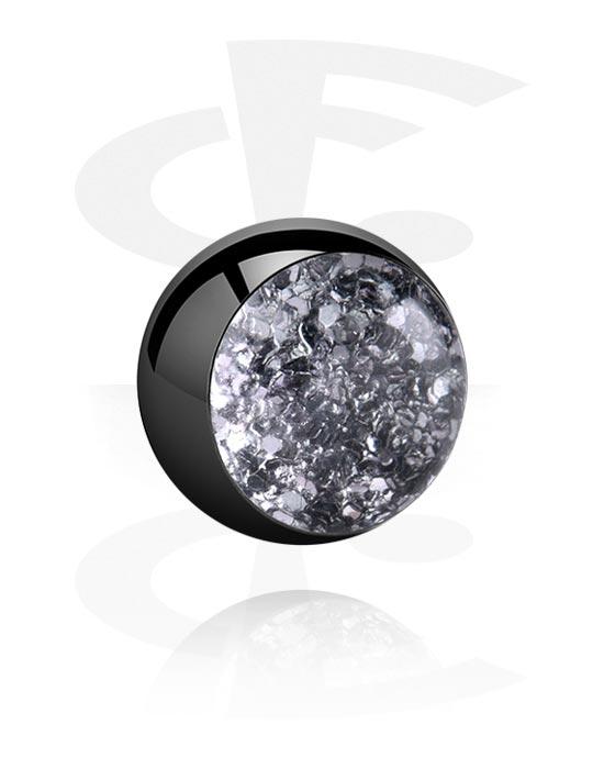 Kulor, stavar & mer, Black Glitterline Ball, Surgical Steel 316L