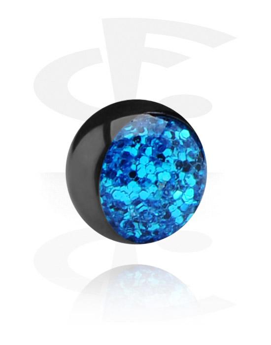 Kuličky, kolíčky a další, Black Glitterline Ball, Surgical Steel 316L