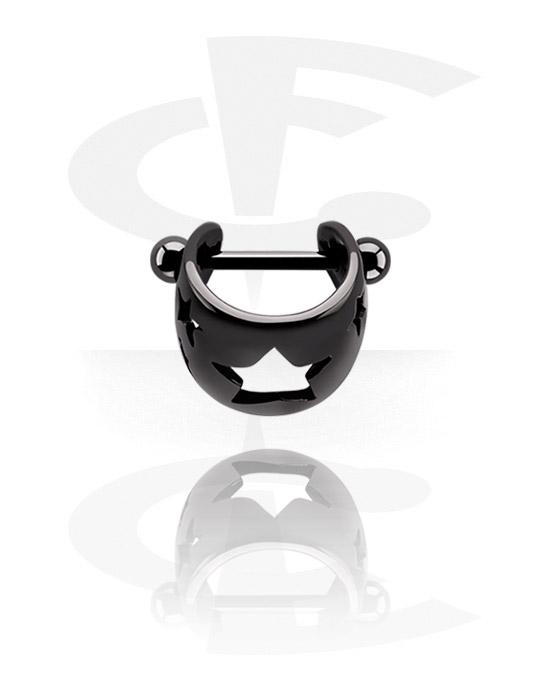 Helix / Tragus, Black Steel Cast Ear Shield, Surgical Steel 316L