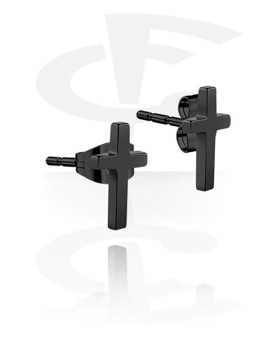 Korvakorut, Ear Studs kanssa cross design, Kirurginteräs 316L
