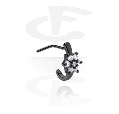 Piercing de nez à tige incurvée avec pierre en cristal