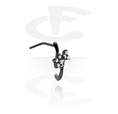 Nosovky a kroužky do nosu, Curved Jewelled Nose Stud, Surgical Steel 316L