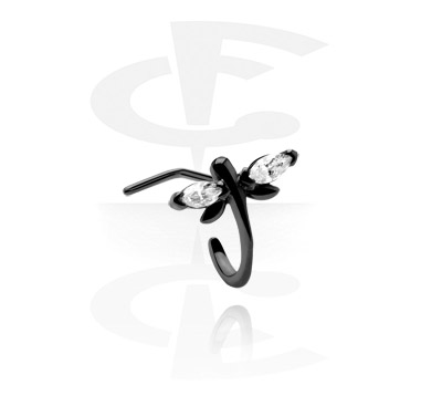 Kolczyki do nosa, Curved Jewelled Nose Stud, Surgical Steel 316L