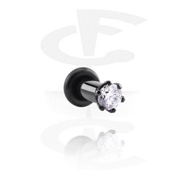 Schwarzer Plug mit Kristallstein