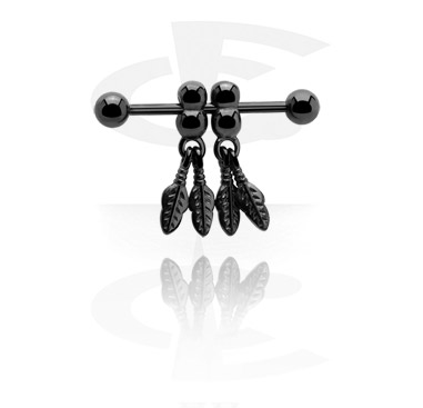 Black Nipple Piercing with pendant