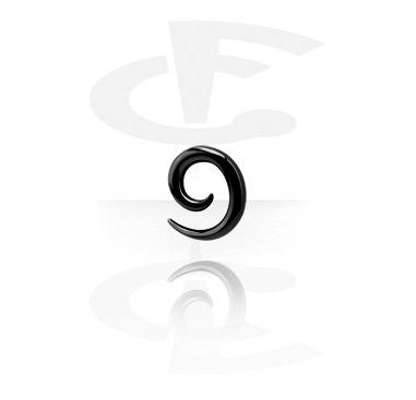 Accessoires pour étirer, Spirale noire pour étirement du lobe, Acier chirurgical 316L