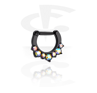 Nose Jewellery & Septums, Black Hinged Septum Clicker, Surgical Steel 316L