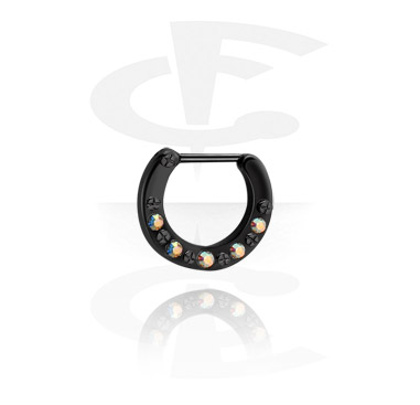 Kolczyki do nosa, Black Jewelled Septum Clicker, Surgical Steel 316L