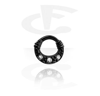 Septum Clicker preto com pedrinhas de cristal