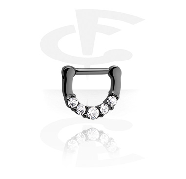 Nose Jewelry & Septums, Black Hinged Septum Clicker, Surgical Steel 316L