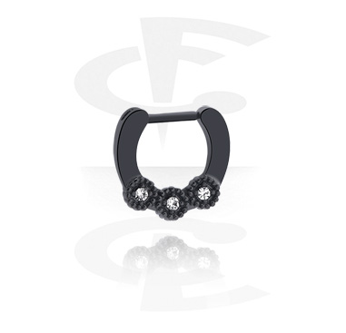 Nose Jewellery & Septums, Black Septum Clicker, Surgical Steel 316L