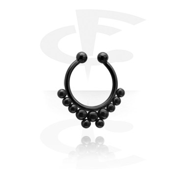 Imitacja biżuterii do piercingu, Black Fake Septum, Surgical Steel 316L