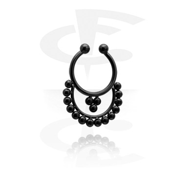 Imitacja biżuterii do piercingu, Black Fake Septum, Surgical Steel 316L