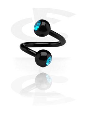 Espiral preta com duas bolas pedra de cristal