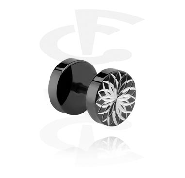 Falešné piercingové šperky, Black Fake Plug, Surgical Steel 316L