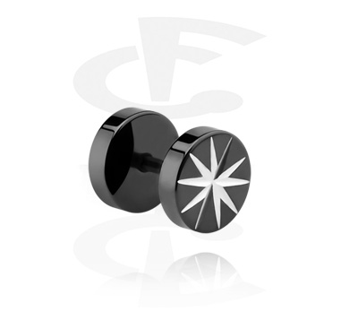 Imitacja biżuterii do piercingu, Black Fake Plug, Surgical Steel 316L