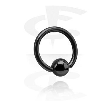 Черное кольцо с застежкой - шариком