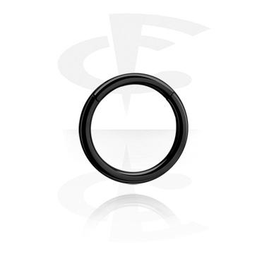 Alke za piercing, Crni glatki prsten, Titanium