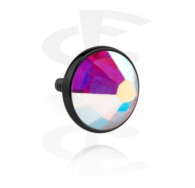 Черный диск с кристаллом для штанг с внутренней резьбой