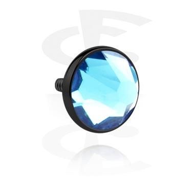 Disco preto com pedra de cristal para barras com rosca interna