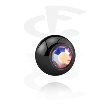 Bola preta com pedra de cristal