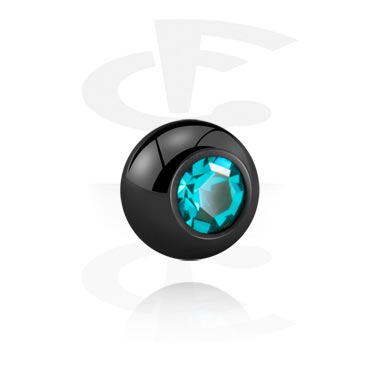 Balls & Replacement Ends, Black Jewelled Ball, Titanium