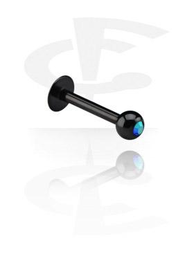 Labret, Black Micro Labret con Jeweled Ball, Titanio