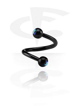 Black Micro Spiraal met Jeweled Balls