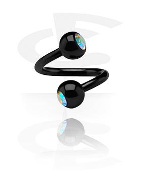 Black Spiral med jewelled balls