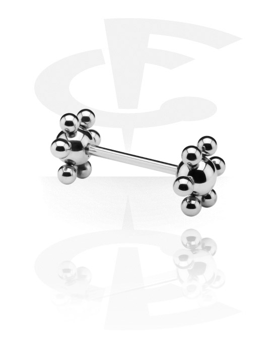 Činky, Barbell with Flower Balls, Surgical Steel 316L
