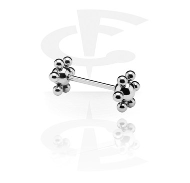 Sztangi, Barbell with Flower Balls, Surgical Steel 316L