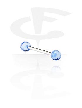 Barres, Barre avec des boules à facettes, Acier chirurgical 316L, Acryl