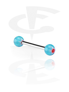 "Sztangi, Barbell with ""Murano""-Balls, Surgical Steel 316L, Acryl"