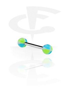 Sztangi, Barbell with Heart Balls, Surgical Steel 316L, Acrylic