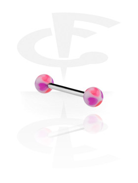 Barbellit, Barbell with Heart Balls, Surgical Steel 316L, Acrylic