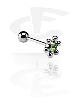 Barbell with Jeweled Flower Ball