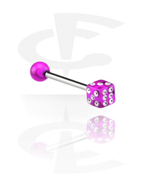 Barbells, Barbell with Jewelled Cube, Surgical Steel 316L, Acryl