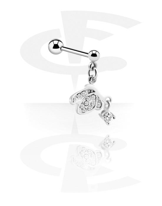 Činky, Barbell s charm a crystal stones, Chirurgická ocel 316L