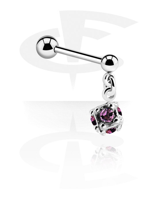 Barbells, Barbell with charm and crystal stones, Surgical Steel 316L