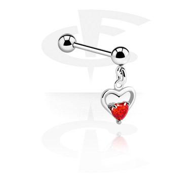 Barbell med heart charm